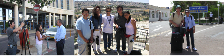 camarógrafo y periodista grabando en Israel y Egipto